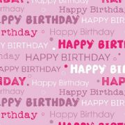 Pink Happy Birthday Roll Wrap 1.5m